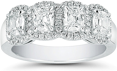 Platinum Henri Daussi 4 Stone Cushion Cut Wedding Ring 1 58ct Tw