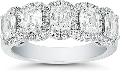 Platinum Henri Daussi 5 Stone Cushion Cut Wedding Ring 2 02ct Tw
