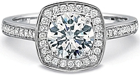 Precision Set Cushion Halo Diamond Engagement Ring