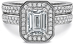 This image shows the setting with a 1.00ct emerald cut center diamond. The setting can be ordered to accommodate any shape/size diamond listed in the setting details section below. Shown with the matching wedding band; Sold separately.