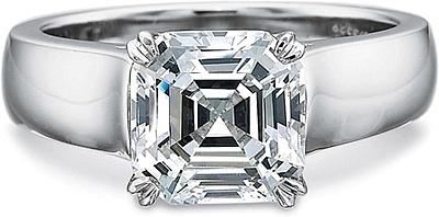 This image shows the setting with a 3.00ct asscher cut center diamond. The setting can be ordered to accommodate any shape/size diamond listed in the setting details section below.