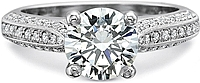 Precision Set Triple Row Bead-Set Diamond Engagement Ring