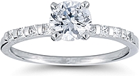 Princess Cut Bar Set Diamond Engagement Ring
