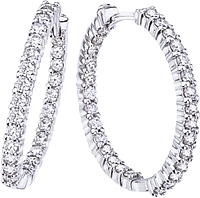 Roberto Coin Diamond Hoop Earrings- 1.53ctw