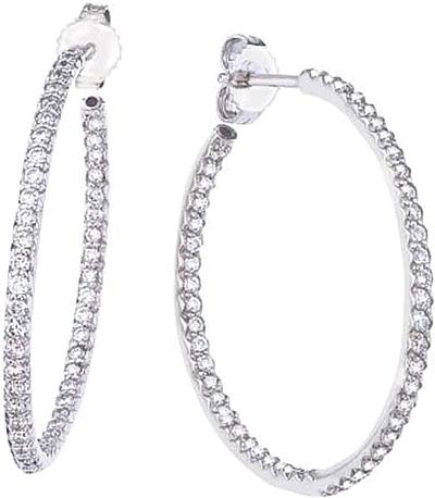 Roberto Coin Diamond Hoop Earrings 98ctw 000602awerxo