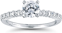 Round Brilliant Bar Set Diamond Engagement Ring