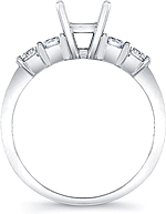 This image shows the setting with a basket made to hold a 1.00ct round brilliant cut center diamond. The setting can be ordered to accommodate any shape/size diamond listed in the setting details section below.