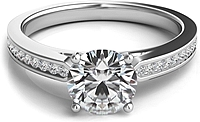 Round Brilliant Petite Channel-Set Diamond Engagement Ring