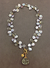 Sage Keshi Pearl & Green Amethyst Necklace