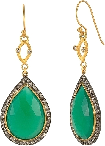 Sara Weinstock 18k Yellow Gold Sterling Silver Green Agate Earrings 210 74