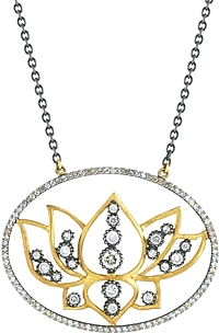 Sara Weinstock Sterling Silver & 18k Yellow Gold Diamond Flower Necklace
