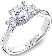Scott Kay 3-Stone Diamond Engagement Ring