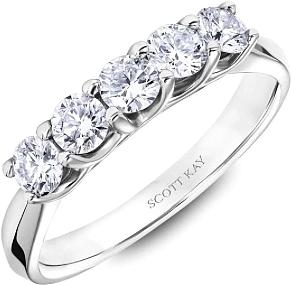 37110da4e6df5 Scott Kay 5 Stone Prong Set Diamond Wedding Band B0722R310PP