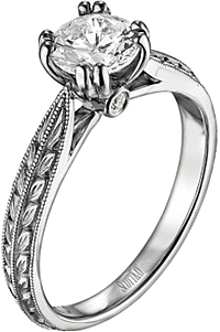 Scott Kay Engraved Diamond Engagement Ring