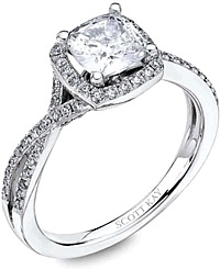 Scott Kay Pave Twist Shank Diamond Engagement Ring