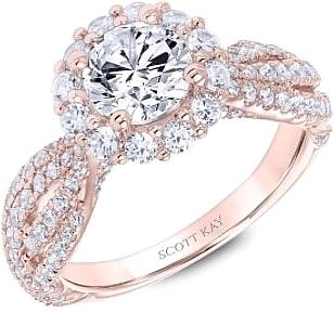 Scott Kay Rose Gold Halo Diamond Engagement Ring M2597r510pp