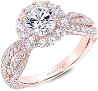 Scott Kay Rose Gold Halo Diamond Engagement Ring