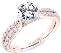 Scott Kay Rose Gold Split Shank Diamond Engagement Ring