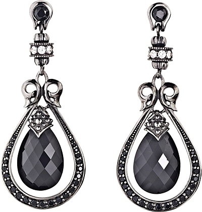 Scott Kay Sterling Silver White Sapphire Black Spinel Drop
