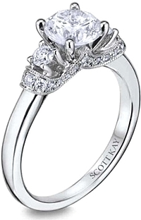 Scott Kay Three Stone Diamond Engagement Ring