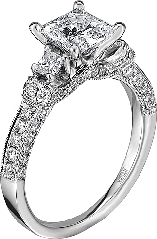 516a35533 This image shows the setting with a 1.00ct princess cut center diamond. The  setting