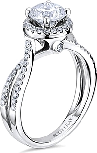 Scott Kay Twist Shank Diamond Engagement Ring