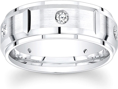 Mens Wedding Bands With Diamonds.Segmented Men S Diamond Wedding Band 8mm