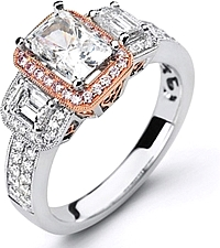 Simon G 3-Stone Pave-Set Engagement Ring