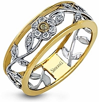 Simon G Floral Diamond Band