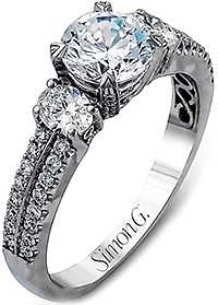 Simon G Oval & Round Pave Diamond Engagement Ring
