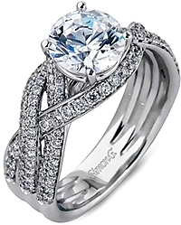 Simon G Pave Braided Diamond Engagement Ring
