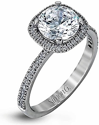 Simon G Pave Diamond Halo Engagement Ring