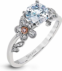Simon G Pave Flower Diamond Engagement Ring