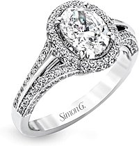 Simon G Pave Halo Diamond Engagement Ring