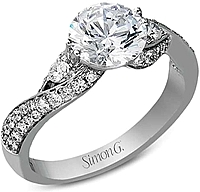 Simon G Pave Twist Diamond Engagement Ring