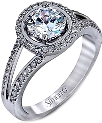 Simon G Split Shank Diamond Halo Engagement Ring