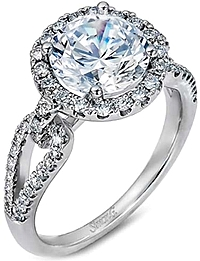 Simon G Split Shank Pave Diamond Engagement Ring