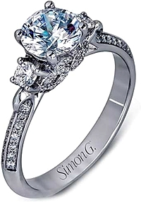 Simon G Three Stone Diamond Engagement Ring