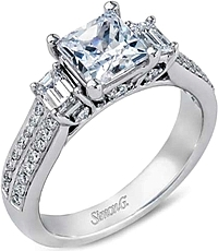 Simon G Three Stone Pave Diamond Engagement Ring