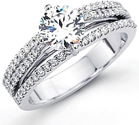 Simon G Triple Row Pave Diamond Engagement Ring