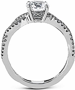 This image shows the setting with a 1ct round brilliant cut diamond. The setting can be ordered to accommodate any shape/size diamond listed in the setting details section below. The wedding band shown is sold separately.