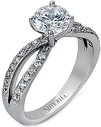Simon G Twist Shank Diamond Engagement Ring