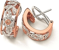 Simon G White and Rose Gold Earring with Floral Design