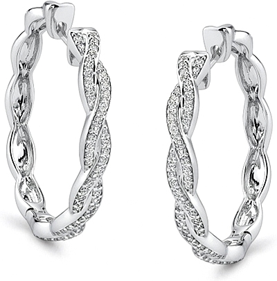Simon G White Gold Twist Hoop Earring With Diamonds 0 Reviews Write A Review View Photos