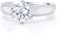 Solitaire Six Prong Diamond Trellis Engagement Ring