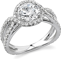 Stardust Twist Halo Micro Pave Diamond Engagement Ring .75cttw