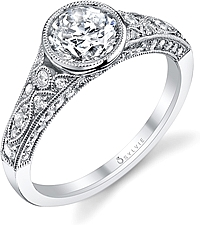 Sylvie Bezel Set Diamond Engagement Ring