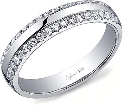 Sylvie Double Row Diamond Wedding Band SY736B