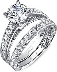 Sylvie Pave Milgrain Diamond Engagement Ring