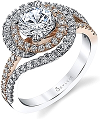 Sylvie Swirl Two-Tone Diamond Engagement Ring